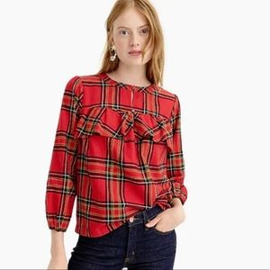 J. Crew Red Flannel Ruffled Top in Festival Red